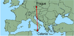 Map of route from Catania to Prague