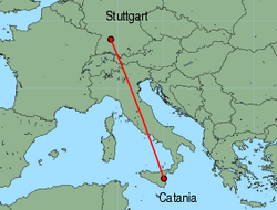 Map of route from Catania to Stuttgart