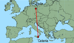 Map of route from Catania to Berlin(Tegel)