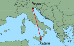 Map of route from Catania to Venice(MarcoPolo)