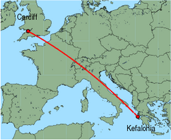 Map of route from Cardiff to Kefalonia