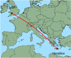 Map of route from Cardiff to Heraklion