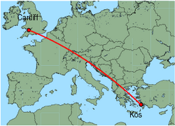 Map of route from Cardiff to Kos