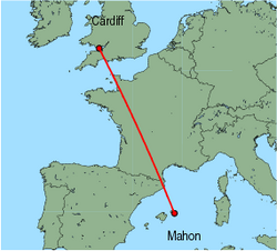 Map of route from Cardiff to Mahon