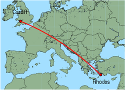 Map of route from Cardiff to Rhodos