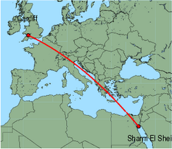 Map of route from Cardiff to Sharm El Sheikh