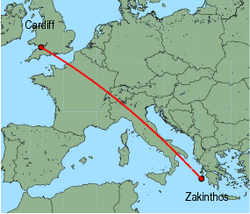 Map of route from Cardiff to Zakinthos