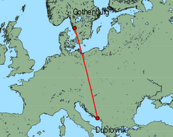 Map of route from Gothenburg (Landvetter) to Dubrovnik
