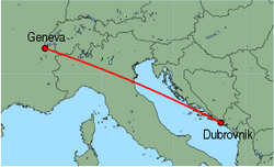 Map of route from Geneva to Dubrovnik