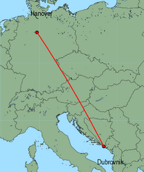 Map of route from Hanover to Dubrovnik