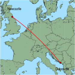 Map of route from Newcastle to Dubrovnik