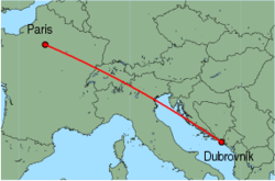 Map of route from Paris (Orly) to Dubrovnik