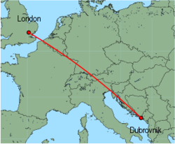 Map of route from London&nbsp;(Stansted) to Dubrovnik