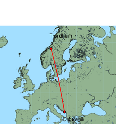 Map of route from Dubrovnik to Trondheim