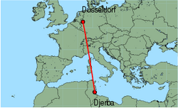 Map of route from Dusseldorf to Djerba