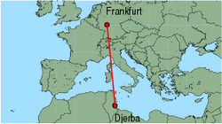 Map of route from Djerba to Frankfurt (International)