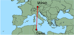Map of route from Munich to Djerba