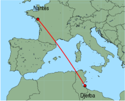 Map of route from Nantes to Djerba