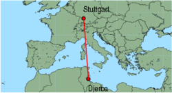 Map of route from Djerba to Stuttgart