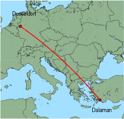 Map of route from Dusseldorf to Dalaman
