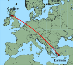 Map of route from Dalaman to Glasgow (International)