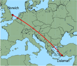 Map of route from Norwich to Dalaman