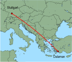 Map of route from Stuttgart to Dalaman