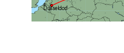 Map of route from Moscow (Domodedovo) to Dusseldorf
