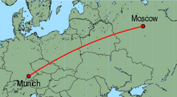 Map of route from Moscow(Domodedovo) to Munich