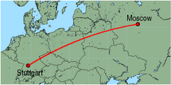 Map of route from Moscow (Domodedovo) to Stuttgart