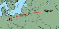 Map of route from Moscow(Domodedovo) to Berlin(Tegel)