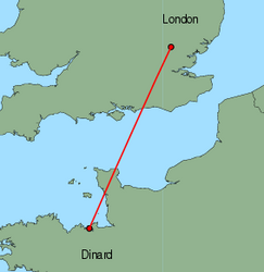 Map of route from London (Stansted) to Dinard