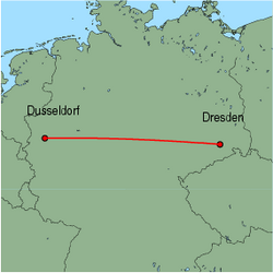 Map of route from Dusseldorf to Dresden