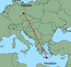 Map of route from Dresden to Heraklion