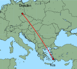 Map of route from Dresden to Kos