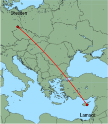 Map of route from Larnaca to Dresden