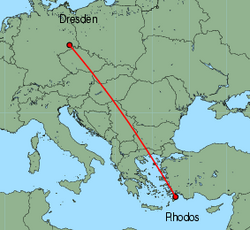 Map of route from Dresden to Rhodos