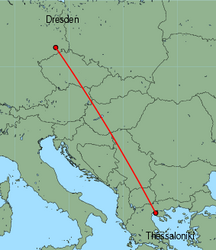 Map of route from Dresden to Thessaloniki