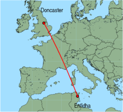 Map of route from Enfidha to Doncaster