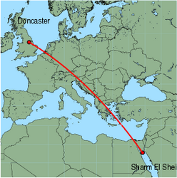 Map of route from Doncaster to Sharm El Sheikh
