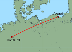 Map of route from Gdansk to Dortmund