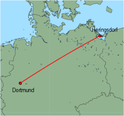 Map of route from Dortmund to Heringsdorf