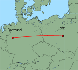 Map of route from Lodz to Dortmund