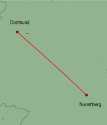 Map of route from Dortmund to Nuremberg