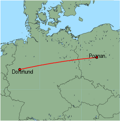 Map of route from Poznan to Dortmund