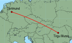 Map of route from Dortmund to Tirgu Mures