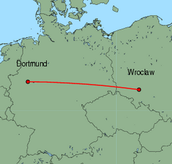 Map of route from Wroclaw to Dortmund
