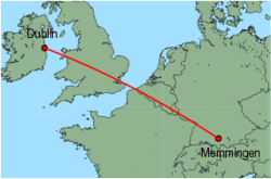 Map of route from Dublin to Memmingen