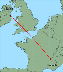 Map of route from Dublin to Grenoble