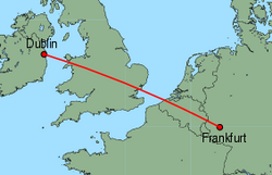 Map of route from Dublin to Frankfurt (Hahn)